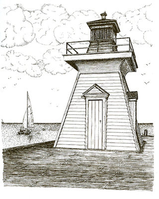 Drawing of the original Bronte lighthouse