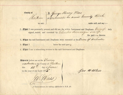 Deed of Land, 1874. From Charles Sovereign to Sophia Carrigew