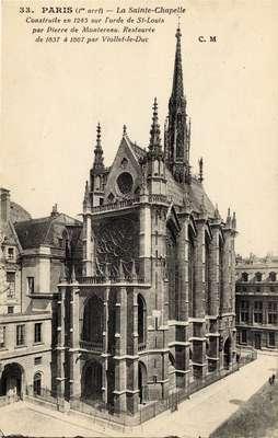 La Sainte-Chapelle, Paris (1re arrt). Construite en 1245 sur l'orde de St-Louis par Pierre de Montereau. Restaurée de 1837 á 1867 par Viollet-le-Duc.