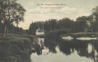 "On the Maganetawan River. ""On Grand Trunk Railway"""