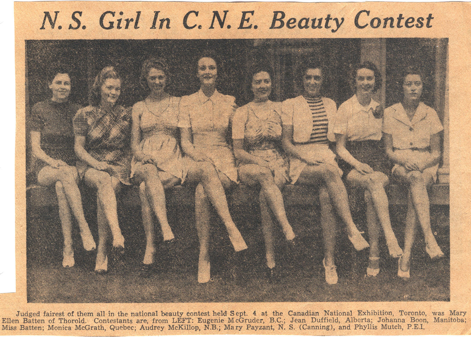 N.S. Girl in C.N.E. Beauty Contest