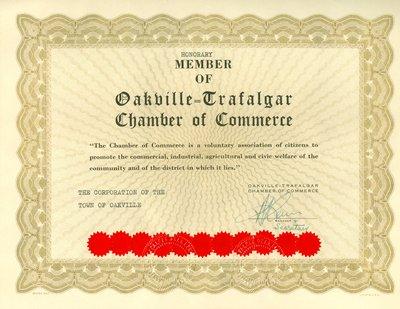 Honorary Member of Oakville-Trafalgar Chamber of Commerce