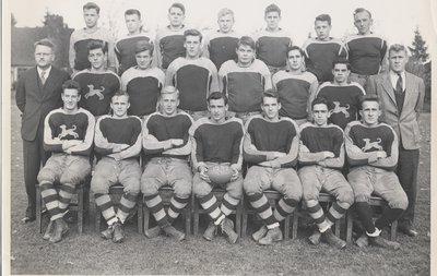 "William ""Bill"" Banting with rugby team at Appleby College"