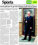 Local golf pro to go into Ontario Golf Hall of Fame