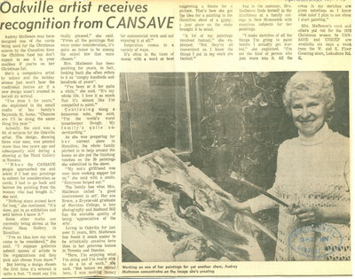 Oakville artist recieves recognition from CANSAVE