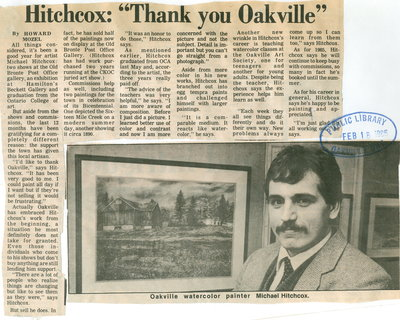 "Hitchcox: ""Thank you Oakville"""