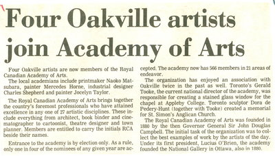 Four Oakville artist join Academy of Arts