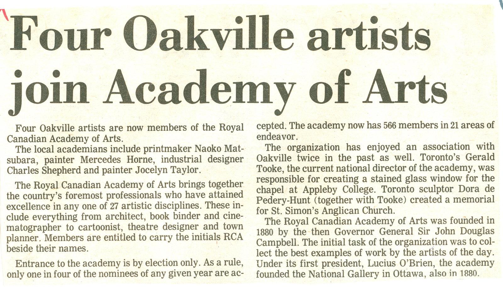 Four Oakville artist join Academy of Arts