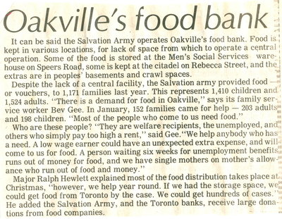 Oakville's food bank