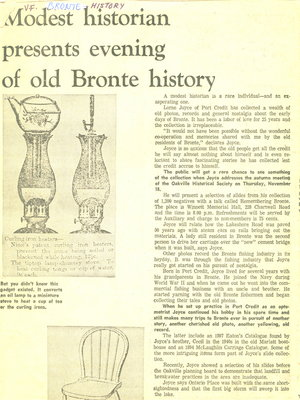 Modest historian presents evening of old Bronte history