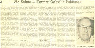 We salute - Former Oakville Publisher