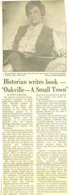 Historian writes book - 'Oakville - A Small Town'