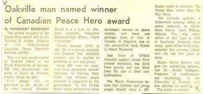 Oakville man named winner of Canadian Peace Hero award
