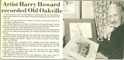 Artist Harry Howard recorded Old Oakville