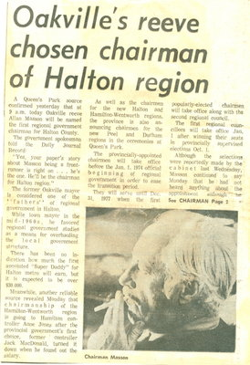 Oakville's reeve chosen chairman of Halton Region