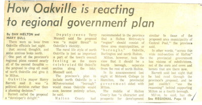 How Oakville is reacting to regional government plan