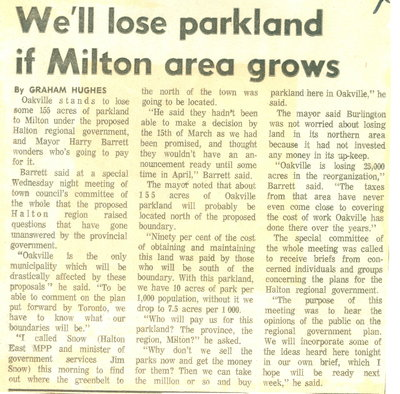 We'll lose parkland if Milton area grows