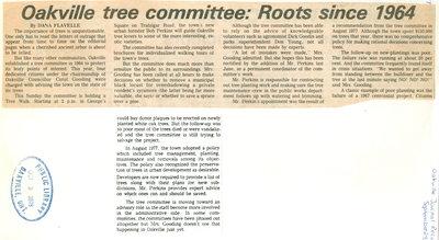 Oakville tree committee: Roots since 1964