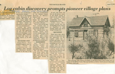 Log cabin discovery prompts pioneer village plans