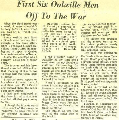 First six Oakville men off to the war