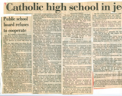 Catholic high school in jeopardy