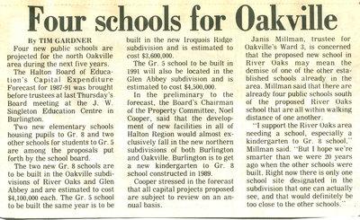 Four schools for Oakville
