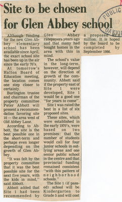 Site to be chosen for Glen Abbey school