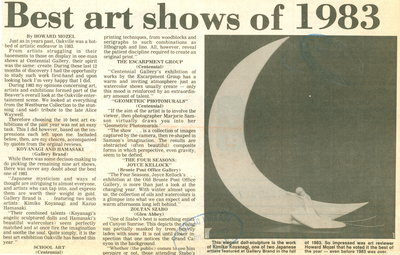 Best art shows of 1983