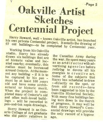 Oakville Artist Sketches Centennial Project