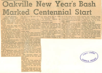 Oakville's New Year's bash marked centennial start