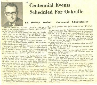 Centennial Events Scheduled For Oakville