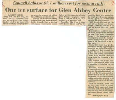 One ice surface for Glen Abbey Centre