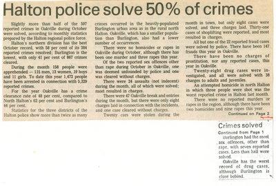 Halton police solve 50% of crimes