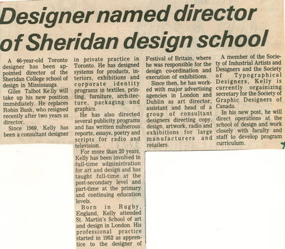 Designer named director of Sheridan design school