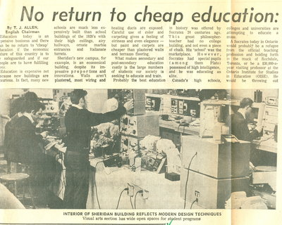No return to cheap education: Sheridan official