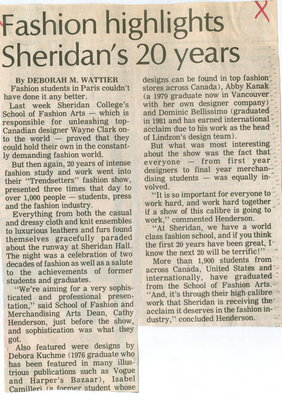 Fashion highlights Sheridan's 20 years