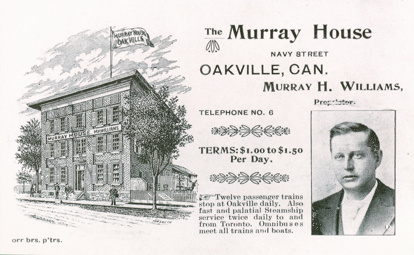 Murray House Hotel Advertisement, early 1900s