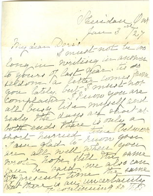 Letter from Emily Hardy to her granddaughter, Doris Hardy