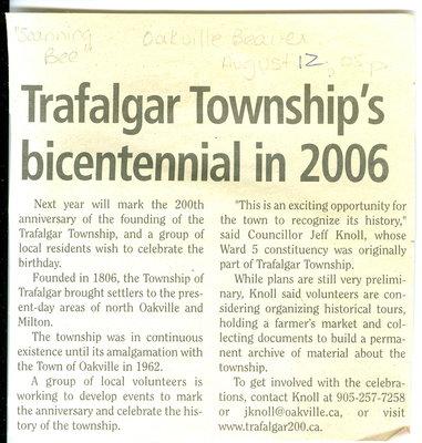 Trafalgar Township's bicentennial in 2006