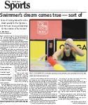 Swimmer's dream comes true, sort of