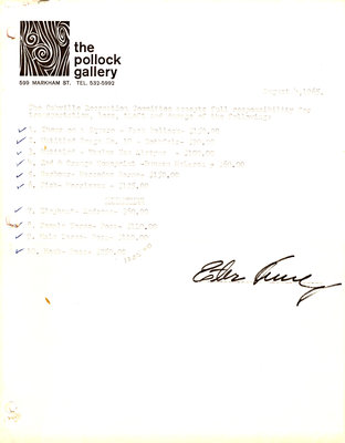 Receipt from Pollock Gallery