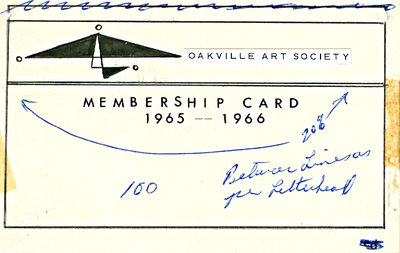 Oakville Art Society Membership Card 1965-1966