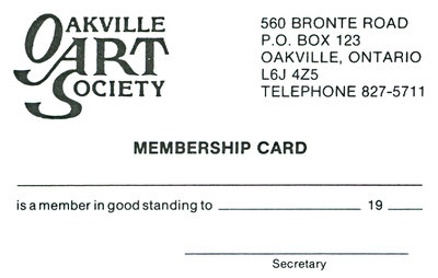 Oakville Art Society Membership Card