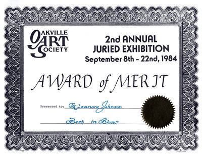 Certificate: 2nd Annual Juried Exhibition