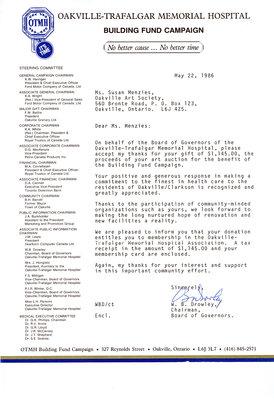 Letter from Oakville Trafalgar Memorial Hospital to OAS