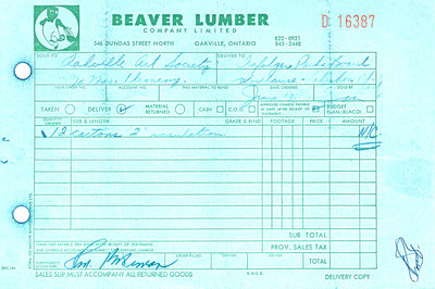Receipt from Beaver Lumber showing no charge