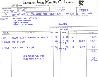 Receipt from 'Canadian Johns-Manville Company Ltd.'