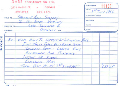 "Invoice from Darb Construction for renovations on the ""Cottage"""