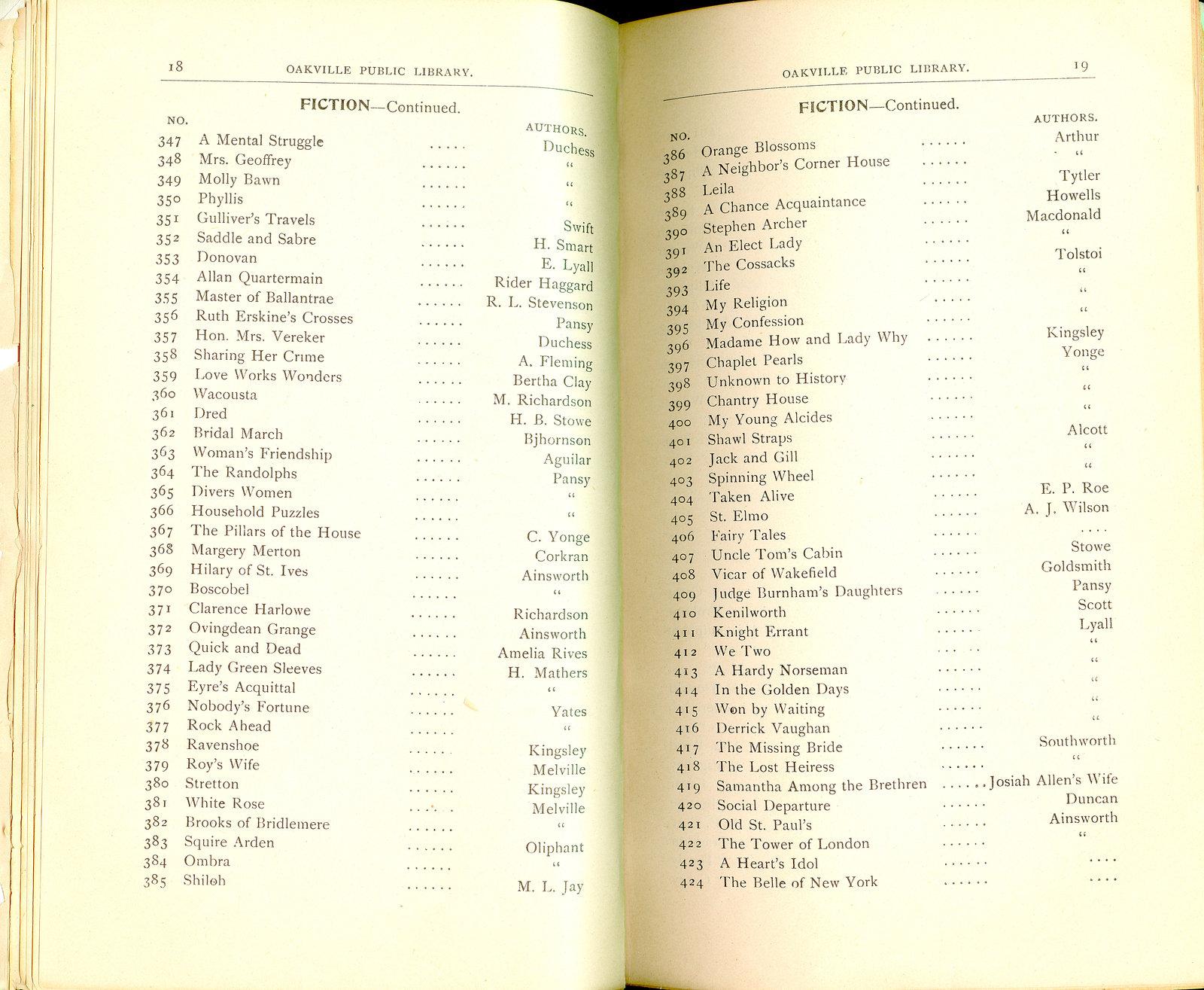 Oakville Public Library Catalogue (18-19)