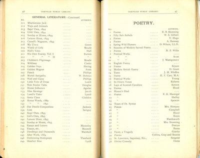Oakville Public Library Catalogue (46-47)